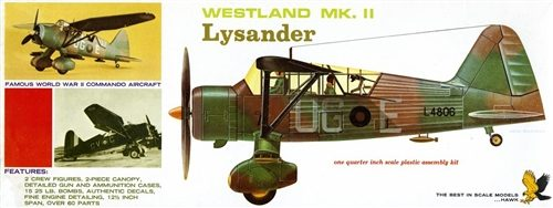 Lindberg Westland Lysander 1:48 Scale Model Kit