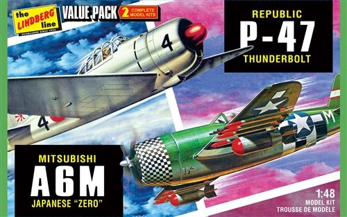 Lindberg 2 pack WWII Adversaries (P-47 Thunderbolt & Japanese Zero) 1:48 Scale