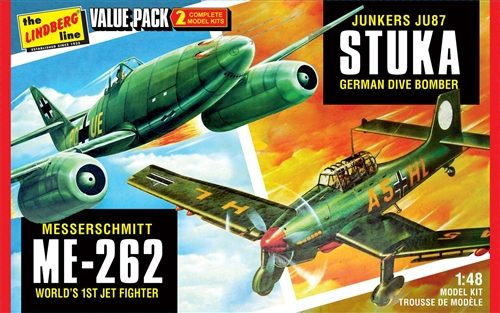 Lindberg 2 pack WWII German Fighters (Junkers JU87 Stuka & Messershmitt ME262) 1:48 Scale