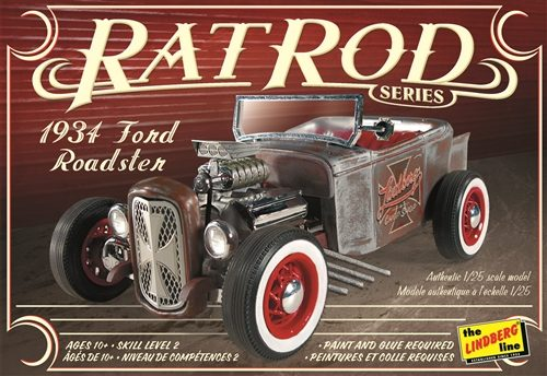 Lindberg 1934 Ford Roadster Rat Rod 1:25 Scale Model Kit