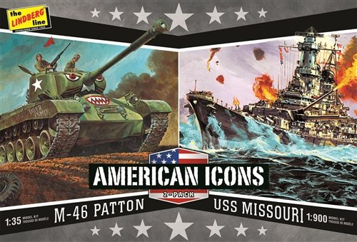 Lindberg WWII (M-46 Patton Tank & U.S.S. Missouri) USA Icons - 2 Pack Model Kits