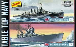 Lindberg Tabletop Navy: (HMS King George V & HMS Dorsetshire) 2 Pack 1:1200 Scale Kits