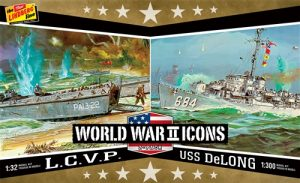 Lindberg American Icons of WWII L.C.V.P. & USS DeLong 1:32/1:300 Scale Model Kits