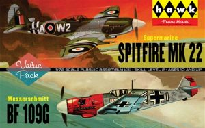Lindberg Spitfire MK 22/BF109G - 2 Pack 1:72 Scale Model Kits
