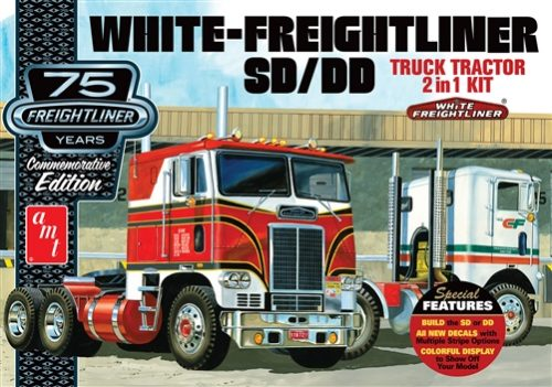 AMT White Freightliner 2-in-1 SD/DD Cabover Tractor (75th Anniversary) 1:25 Scale Model Kit