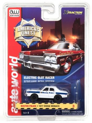 Auto World Xtraction R21 1977 Dodge Monaco Boston Police HO Scale Slot Car