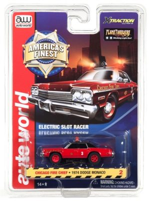 Auto World Xtraction R21 1974 Dodge Monaco Chicago Fire Chief HO Scale Slot Car