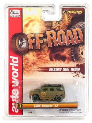 Auto World Xtraction R24 2004 Hummer H2 Army Green HO Scale Slot Car