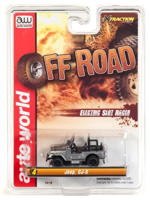 Auto World Xtraction R24 Jeep CJ-5 Silver HO Scale Slot Car