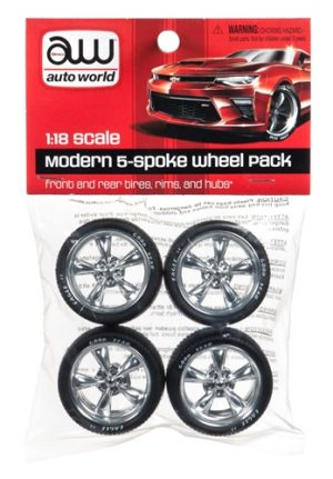 Auto World Modern 5 Spoke Wheel Pack 1:18 Scale Parts Pack