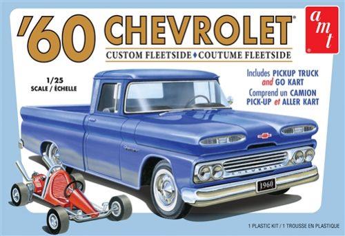 AMT 1960 Chevy Custom Fleetside Pickup w/Go Kart 1:25 Scale Model Kit
