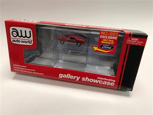 Auto World Six Car Interlocking Display Case w/Exclusive 1967 Ford Mustang GT 1:64 Scale