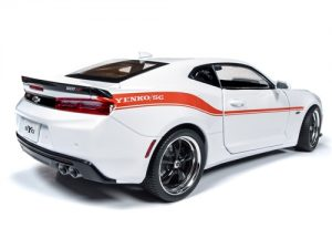 Auto World 2018 Chevrolet Camaro Yenko S/C (White w/orange stripe) 1:18 Scale Diecast