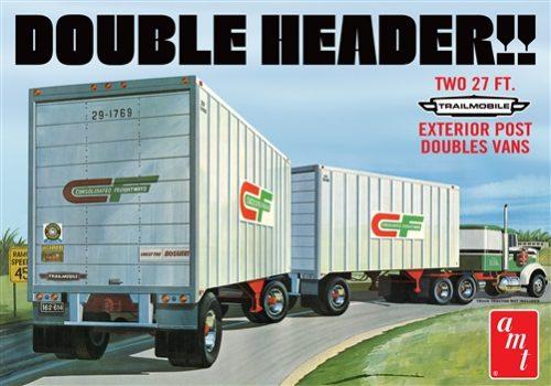 "AMT ""Double Header"" Tandem Van Trailers 1:25 Scale Model Kit"