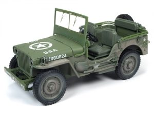 Auto World 1941 Jeep Willys (Olive-Drab WWII Mud Covered/Dirty) 1:18 Scale