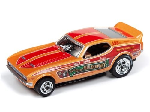 """Auto World 4Gear R22 Shirley """"Cha-Cha"""" Muldowney - 1972 Ford Mustang Funny Car HO Scale Slot Car"""