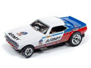 """Auto World 4Gear R22 Don """"The Snake"""" Prudhomme US Army - 1973 Plymouth Cuda Funny Car HO Scale Slot Car"""