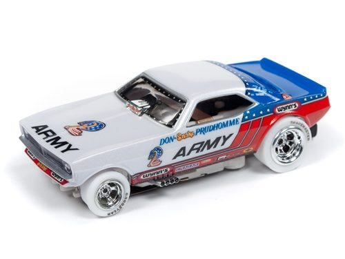 """Auto World 4Gear R22 Don """"The Snake"""" Prudhomme US Army - 1973 Plymouth Cuda Funny Car iWheels HO Scale Slot Car"""