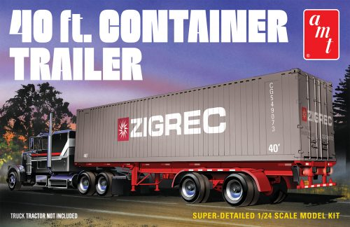 AMT 40' Semi Container Trailer 1:24 Scale Model Kit