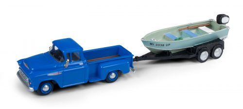 Classic Metal Works 1957 Chevy Step Side Pickup Truck w/Fishing Boat & Trailer 1:87 HO Scale