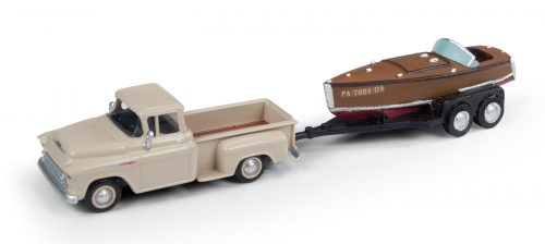 Classic Metal Works 1957 Chevy Step Side Pickup Truck w/Wood Boat & Trailer 1:87 HO Scale
