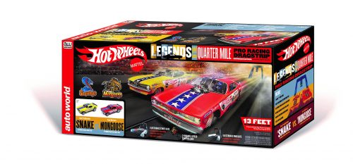 Auto World Hot Wheels Legends of the Quarter Mile Snake vs Mongoose 13' Dragstrip Race Set HO Scale