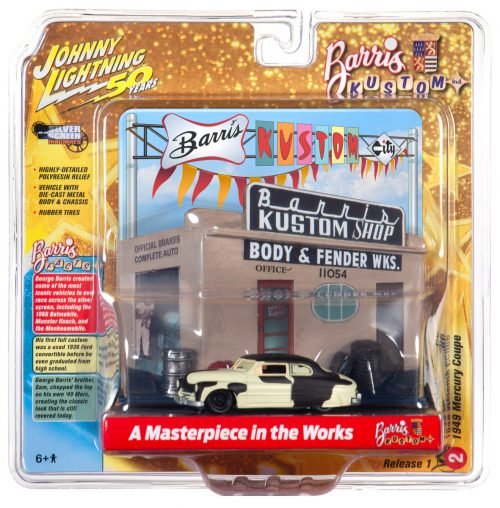 Johnny Lightning Diorama - Barris Custom Shop with 49 Ford Mercury