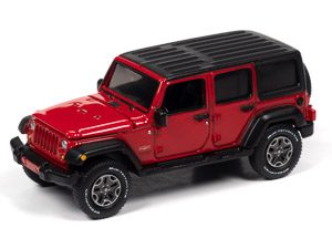 Auto World 2018 Jeep Wrangler Sahara (4-door) (Firecracker Red w/Black Flat Roof) 1:64 Diecast