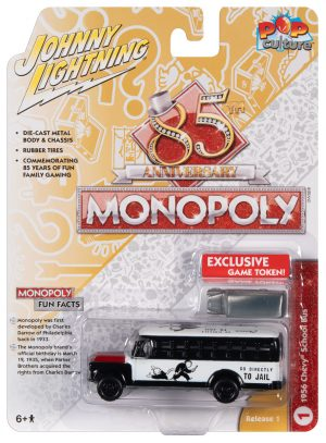 Johnny Lightning Pop Culture Monopoly Chevrolet School Bus & Token 1:64 Diecast