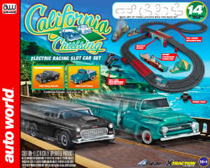 "Auto World 14' California Cruising ""The Pacific Coast Highway"" Slot Race Set HO Scale"