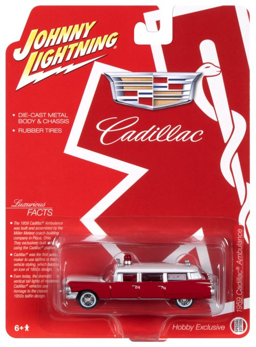 Johnny Lightning 1959 Cadillac Ambulance (Red/White) 1:64 Scale Diecast 1:64 Scale Diecast