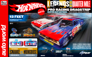 Auto World Hot Wheels Legends of the Quarter Mile Snake II vs Mongoose II 13' Dragstrip Race Set HO Scale