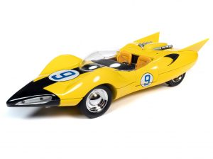 AUTO WORLD SPEED RACER SHOOTING STAR WITH RACER X FIGURE 1:18 SCALE DIECAST