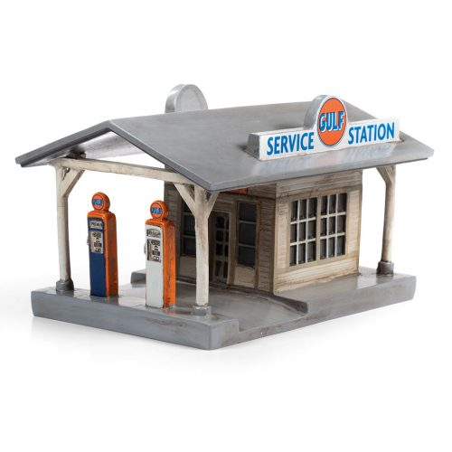 CLASSIC METAL WORKS TRAXSIDE COLLECTION 1940-1950'S ERA RURAL GAS STATION W/BUILDING - GULF HO SCALE