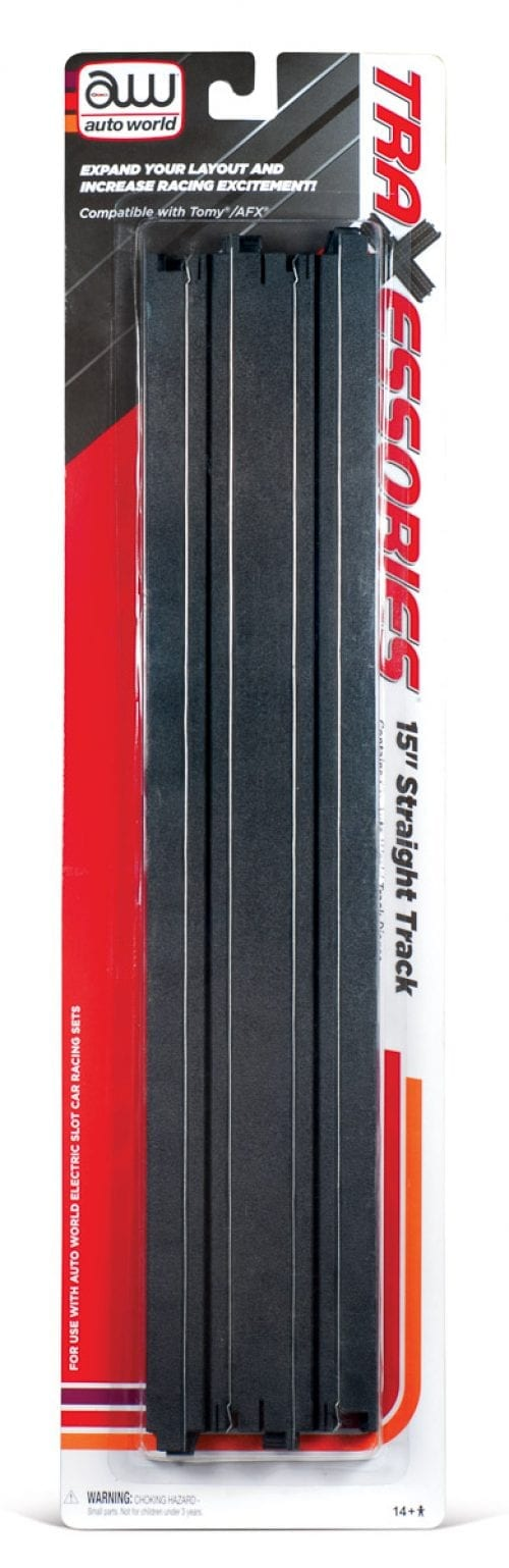 """AUTO WORLD 15"""" TRAXESSORIES STRAIGHT TRACK - 2 PACK"""