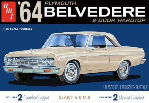 AMT 1964 PLYMOUTH BELVEDERE (W-SLANT 6 ENGINE) 1:25 SCALE MODEL KIT