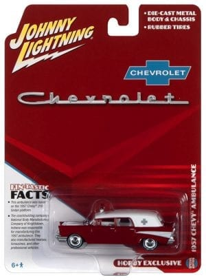 JOHNNY LIGHTNING 1957 CHEVY AMBULANCE (KOSMOS RED AND WHITE) 1:64 SCALE DIECAST