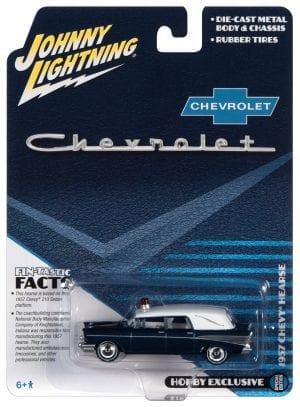 JOHNNY LIGHTNING 1957 CHEVY HEARSE (METISSE BLUE AND WHITE) 1:64 SCALE DIECAST