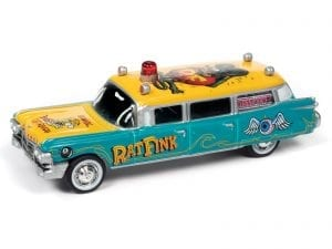 JOHNNY LIGHTNING 1959 CADILLAC HEARSE RAT FINK 1:64 SCALE DIECAST