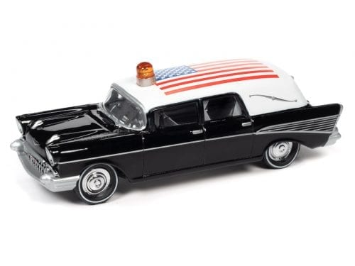 JOHNNY LIGHTNING 1957 CHEVY HEARSE (BLACK & WHITE W/AMERICAN FLAG) 1:64 SCALE DIECAST