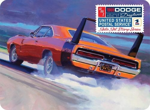 AMT 1969 DODGE CHARGER DAYTONA (USPS STAMP SERIES COLLECTOR TIN) 1:25 SCALE MODEL KIT