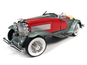 AUTO WORLD 1935 DUESENBERG SSJ (RED AND SILVER) 1:18 SCALE DIECAST