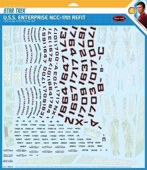 STAR TREK U.S.S. ENTERPRISE NCC-1701 REFIT AZTEC DECALS 1:350 SCALE