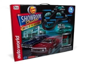 AUTO WORLD 14' SHOWROOM SHOOTOUT - BATTLE OF THE DEALERSHIPS SLOT RACE SET