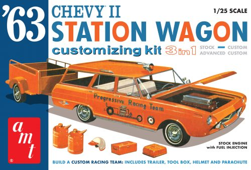 AMT 1963 CHEVY II STATION WAGON W/TRAILER 1:25 SCALE MODEL KIT