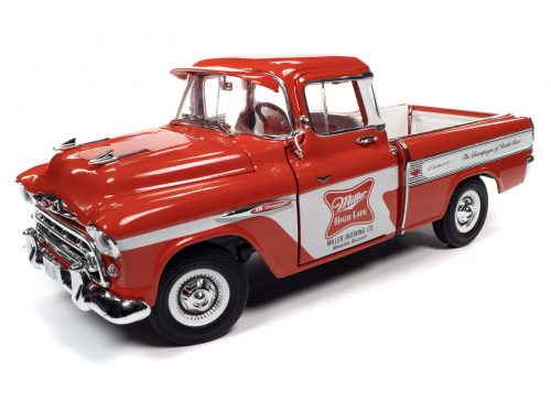 AUTO WORLD 1957 CHEVY CAMEO PICKUP MILLER HIGH LIFE 1:18 SCALE DIECAST