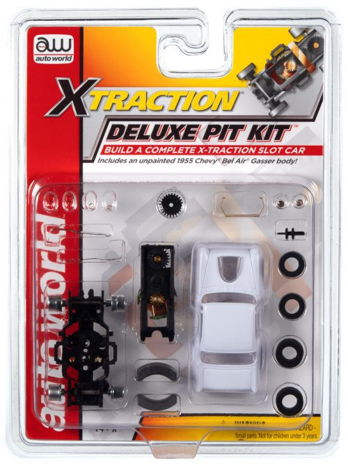 AUTO WORLD X-TRACTION DELUXE PIT KIT (W/1955 BEL AIR BODY) HO SCALE SLOT CAR